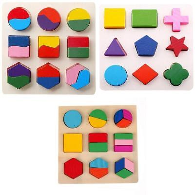 Baby Wooden Geometry Block Puzzle Montessori Early Learning Educational Toys