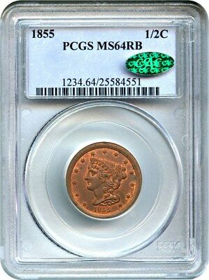 1855 1/2c PCGS/CAC MS64 RB - Half Cent