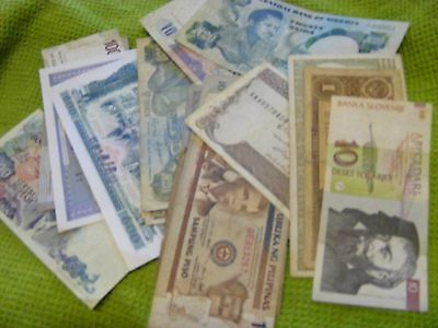 Lot of 21,  World Banknotes, used,various conditions.(F)