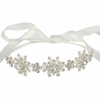 Silver-Tone Headbands Austrian Crystal Wedding Snowflake Flower Hair Band Clear