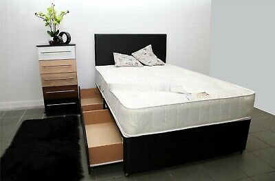 2ft6 3ft 4ft 4ft6 5ft Divan Bed Base Cream Black Storage Headboard Mattress.SALE