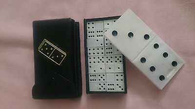 Vintage Miniature Travel Dominoes Set * Made in Hungary *  English Leather Case