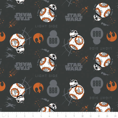 Camelot Fabric Star Wars The Last Jedi BB8 In Carbon HALF METRE