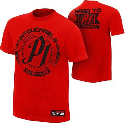 Aj Styles Untouchable Red T-Shirt New & Sealed Adult Large Wwe Wrestling