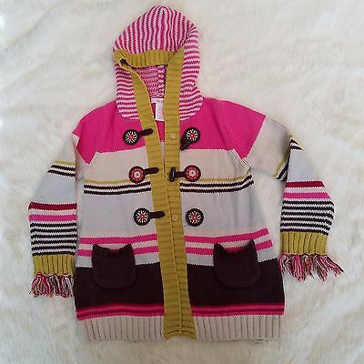 girls size 5t sweater hood pink brown tassles school casual Lilly Wicket
