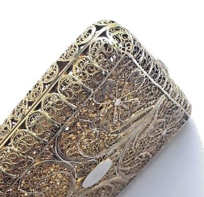 Vintage Antique Silver 800 Filigree Cigarette Case Poss Russian Early 2oth C.