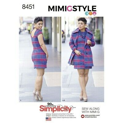 Simplicity Sewing Pattern Misses' Mimi G Style Lined Dress Coat Jacket  8451