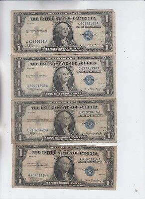Silver Certificate $1 1935 PLAIN 4 notes vg-fine stains