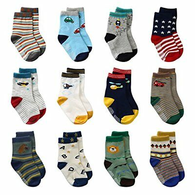 LAISOR 12 Pairs Assorted Non-Skid Ankle Cotton Socks with Grip For Kids