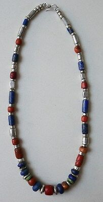 BESPOKE JESSAMINE KENDALL NECKLACE WITH ANCIENT BEADS of LAPIS LAZULI & CORAL