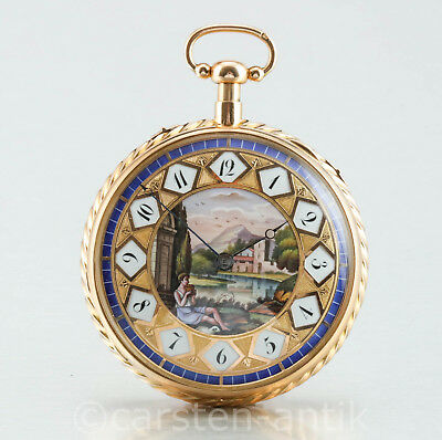 4135e0ac6f1 Extremely Rare Music  ¼ repeating18K gold enamel pocket watch Perrin Freres  1820