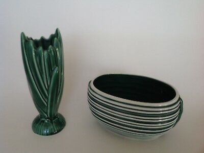 2 Vintage SylvaC Vases - bud vase in green and a bulb bowl in green and white