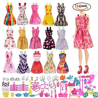 114 Pcs Doll Clothes Party Gown Outfits And Accessories for Barbie - 16 Pcs