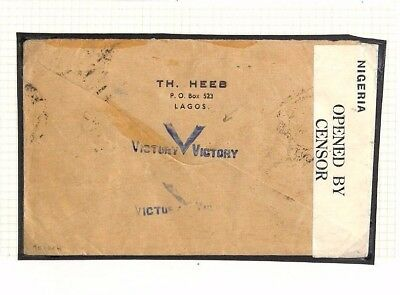 AP371 1941 Nigeria WW2 VICTORY MAIL 2s6d High Value *Horseshoe Route* Airmail GB