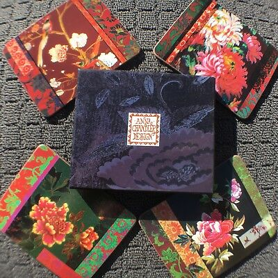 """4pc ANNA CHANDLER DESIGN """"Exotic Floral"""" Decorative Wooden Drink Coasters *NEW*"""