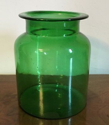 Antique Green Glass Apothecary Country Store Storage Jar Vase Urn 19th century