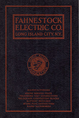 Fahnestock Electric Company 1925 Catalog Spring Binding Posts Wiring Connections