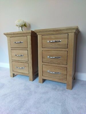 Pair of Light Oak Large Bedside Tables - Modern Bedroom Drawers - Side Cabinets