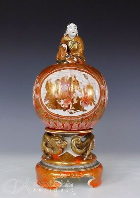 Unusual Large Antique Japanese Kutani Porcelain Covered Vessel W Figural Finial