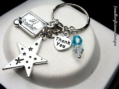 Beautiful NUMBER 1 STAR TEACHER THANK YOU Keyring Key Ring You Choose Colour