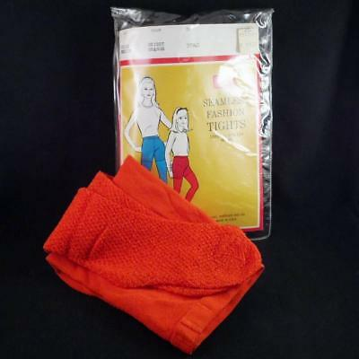 VTG Sears Roebuck Seamless Stretch Nylon Tights NEW Bright Orange Childs Medium