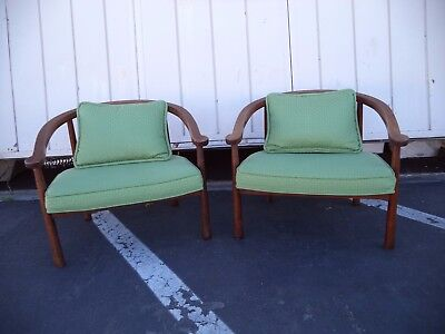 pair of  mid century modern  wood frame lounge chair low vintage green