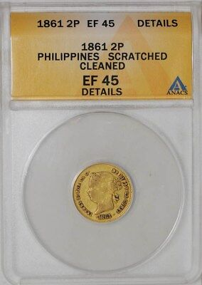 1861 Philippines Gold 2 Pesos EF45 Details ANACS