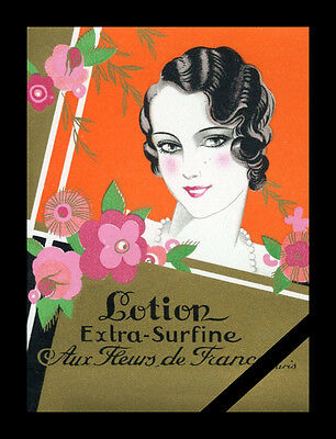 Original Vintage French Perfume Label: Antique Art Deco Aux Fleurs De France