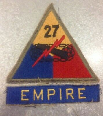 WW2 27th ARMORED DIVISION PATCH & EMPIRE TAB US ARMY Cut Edge OD Border