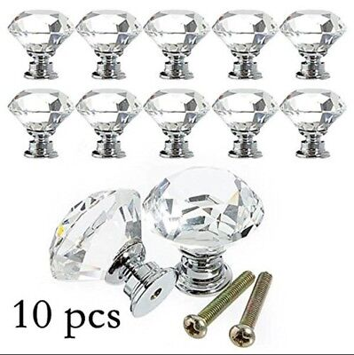 10 Vintage Crystal Clear Glass Door Knobs Pulls Cabinet Antique Furniture Drawer
