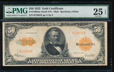AC Fr 1200a 1922 $50 Gold Certificate PMG 25 EPQ tougher variety with small s/n