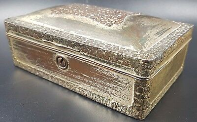 Vintage Antimony Trinket Box, Decorated With Oriental Flowers Design.