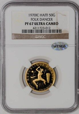 1970IC Haiti Gold 50 Gourdes Folk Dancer PF67 Ultra Cameo NGC ~ WINGS