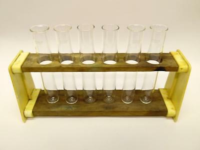 Vintage Old School Laboratory Test Tube Holder Rack Stand + Glass Test Tubes (A)