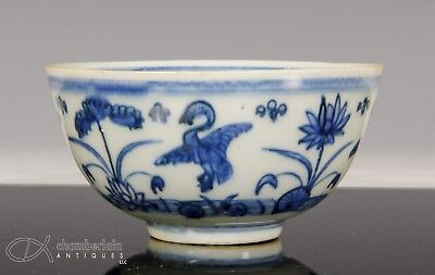 Antique Chinese Blue And White Porcelain Bowl With Birds - Ming Dynasty