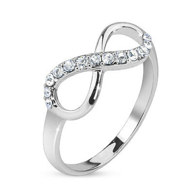 Infinite Infinity Pave Gemmed Brass Ring With Rhodium Plating