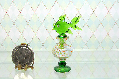 Dollhouse Miniature Tall Clear Swirl Glass Decanter with Green Fish Stopper