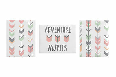 Wodland Coral Mint Arrow Wall Art Room Decor Hangings Baby Nursery Kids Children