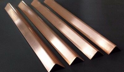 "(4 pc.) Copper Sheet Angle .027"" 20oz. 22 gauge 1/2"" x 1/2"" x 8"""