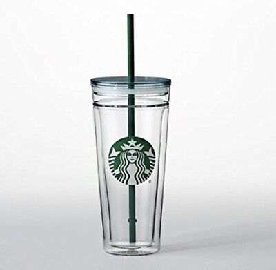 Starbucks Venti Clear Glass Double Wall Tumbler Cold Cup 20oz 2017