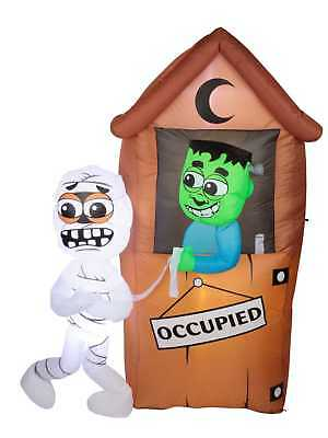 Airflowz 6.5 Foot Light Up Air Blown Halloween Monster Outhouse Inflatable
