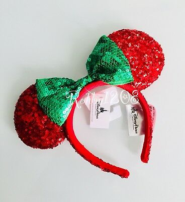 Disney Parks Green Bow Red Sequin Christmas Minnie Mouse Ears Holiday Headband