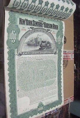 NY CENTRAL & Hudson River Railroad 119 yr OLD CANCELED GOLD BOND CERTIFICATE