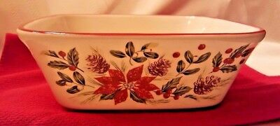 "Longaberger Pottery's Christmas Collection Nature's Garland 9"" Square Baker"