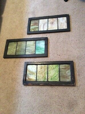 "Antique 1920's Stained Leaded Glass Transom Windows 18""x11.5"" Lot Of 3 Pieces"