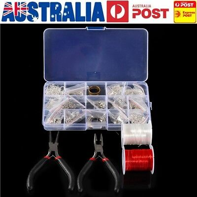 AU Plated Jewellery Making Starter Kit Findings Beads Pliers Chains DIY Tool Set