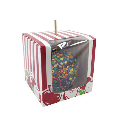 """Apple Printed Paper Candy Apple Boxes 4""""x4""""x4"""""""