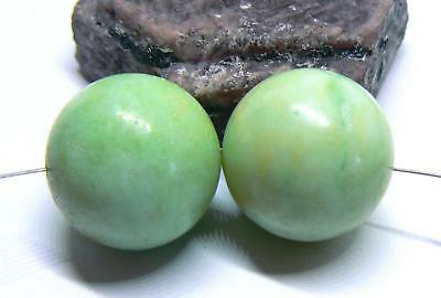 2 NATURAL UNTREATED APPLE GREEN AUSTRALIAN CHRYSOPRASE ROUND BEADS 18mm 79cts