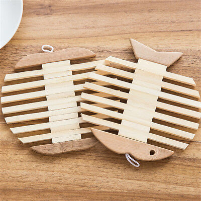 apple and fish wooden table placemats heat insulation kitchen accessories MO