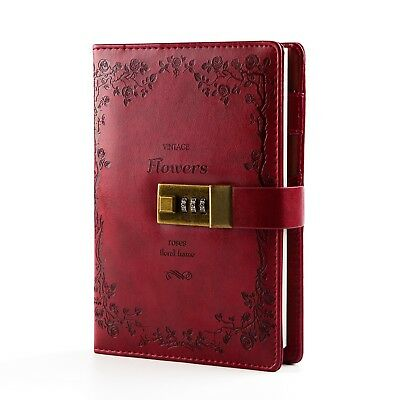 Lock Diary PU Leather Combination Lock Journal 5.4 x 7.8 Inch Retro Vintage (...